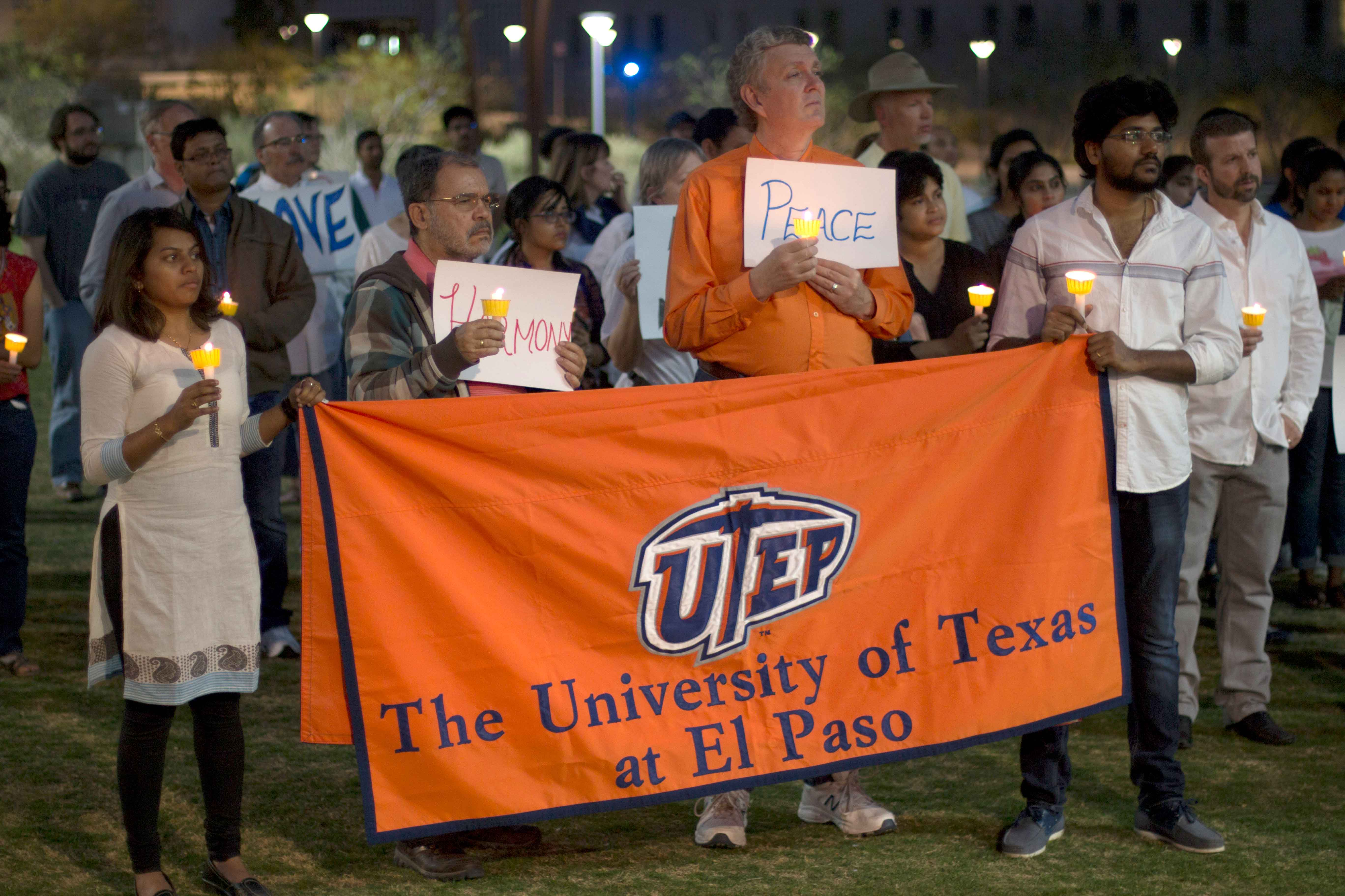 On March 11.UTEP students, staff faculty, and El Paso Community come together at Centennial Plaza in honor of Sirinivas Kuchibhotla who was shot and killed in the result of hate crime.