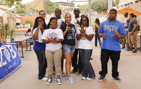 Members of Alpha Kappa Alpha, Phi Beta Sigma and Zeta Phi Beta. From left to right; Angela Wooley, UTEP alumni; Miguel Candelaria, sophomore engineering major; Shequela Whitt, sophomore nursing major; James Boyd, junior criminal justice major; Isela Speights, sophomore general business major; Cedric Howard, sophomore nursing major; Sabrina Clemmer, senior multidisciplinary studies major; and Marquis Whitt, sophomore computer science major.