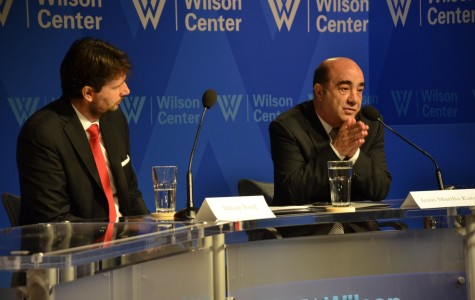 Mexico's Attorney General Jesus Murillo Karam, right, says crime in Mexico has decreased noticeably due changes in the judicial system. Duncan Wood, director of the Mexico Institute at the Woodrow Wilson Center, moderated the discussion Tuesday. SHFWire photo by Andrés Rodriguez