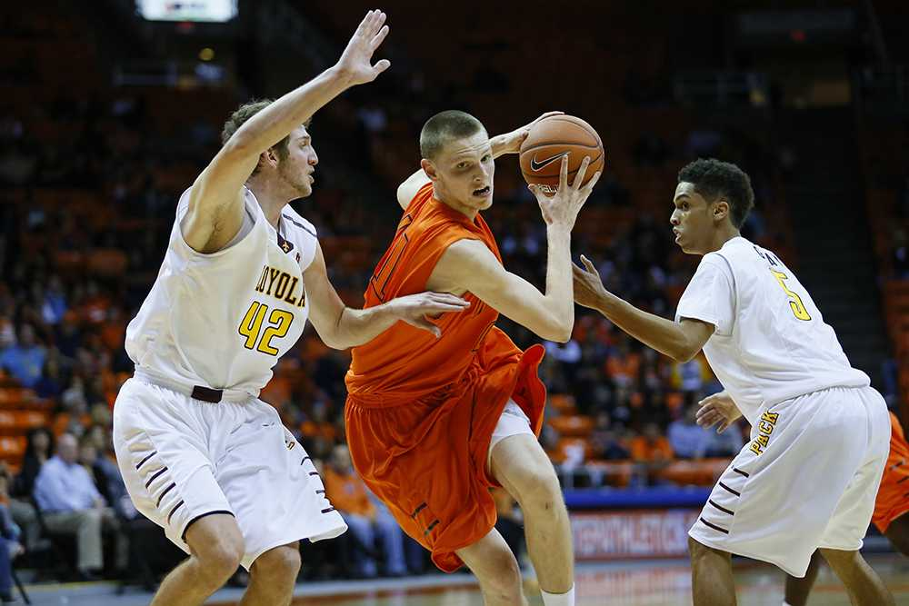 Freshman center Matt Willms led the Miners aginst Loyola New Orleans with 20 points.