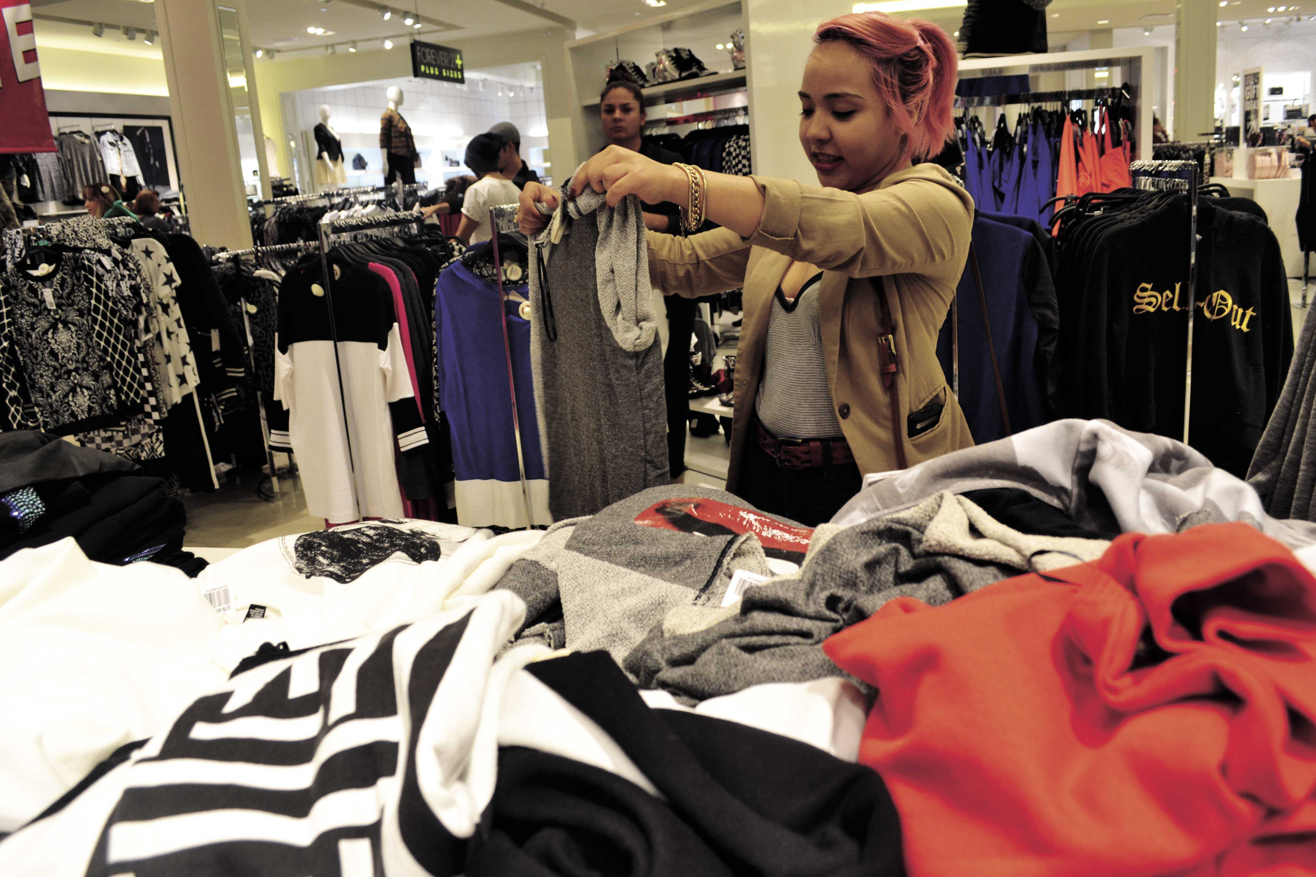 Karina Soto shops at Forever 21, the best shopping venue according to UTEP students.