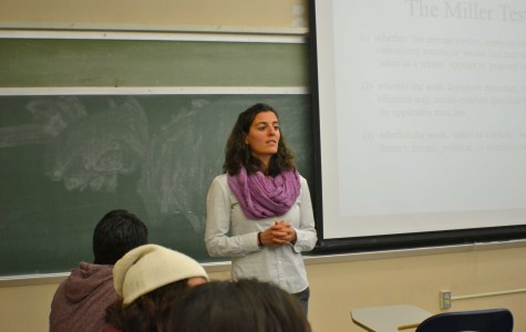"Naomi Fertman, associate professor in the Women's Studies Program, teaching the course ""Women and Work in the Sex Industry."""