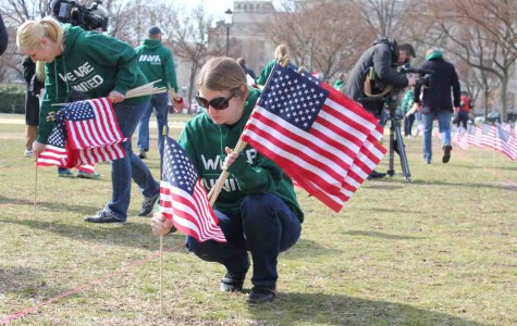 Ann Weeby, an Iraq veteran with the Michigan Army National Guard and senior business developer for Goodwill in San Francisco, plants a U.S. flags across the National Mall to represent veterans who committed suicide over the last year.