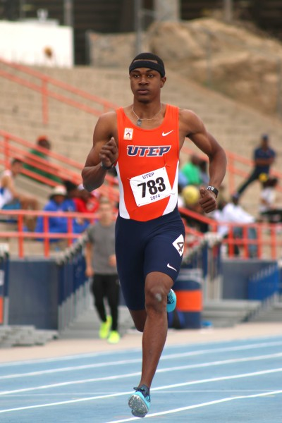 Sprinter A-Shawni Mitchell sprints at Kidd Field during the UTEP Invitational on April 12.