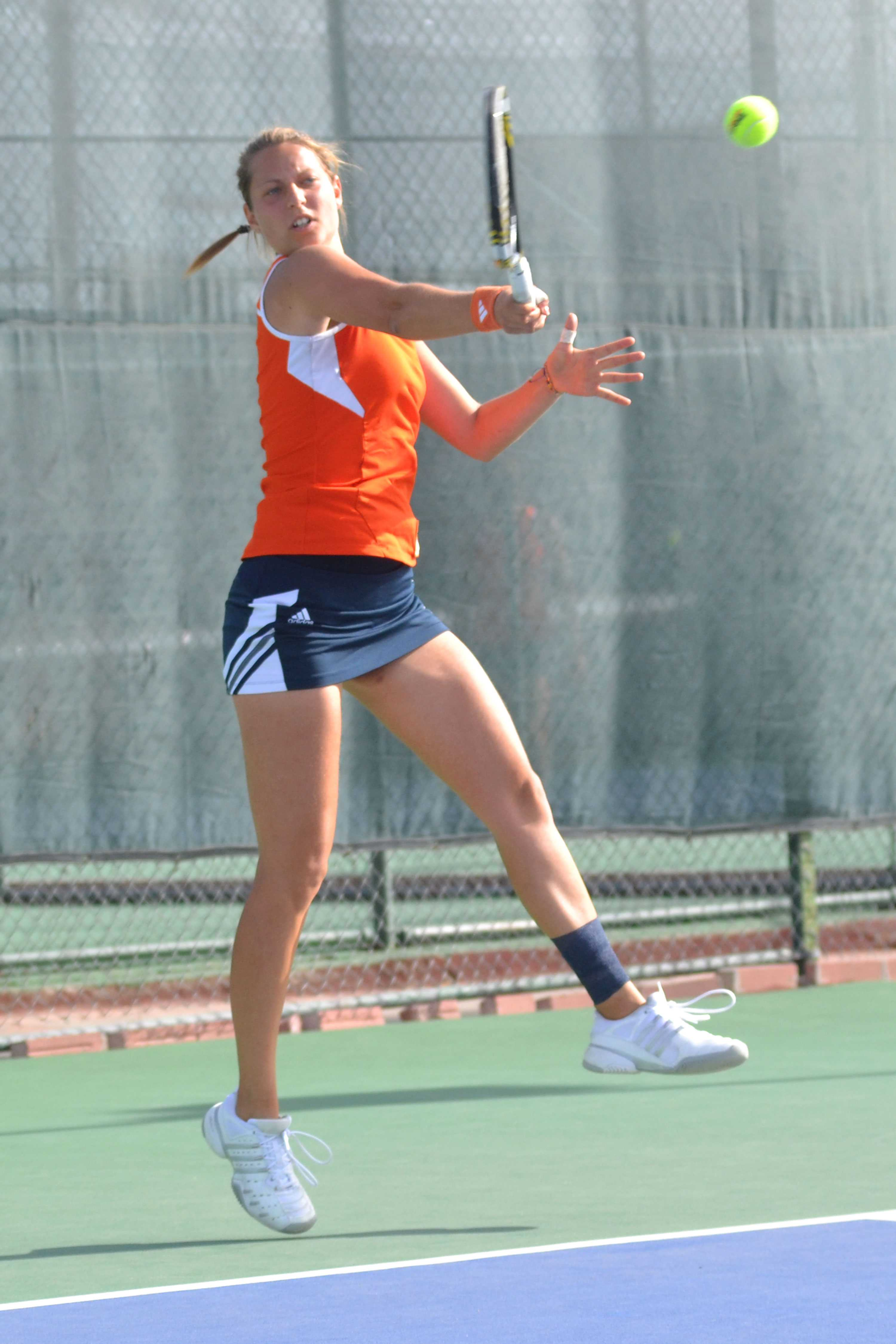 Senior Marie Leblond  hits a forehand against the Louisiana Monroe Warhawks on March 29 at the UTEP Tennis Complex.