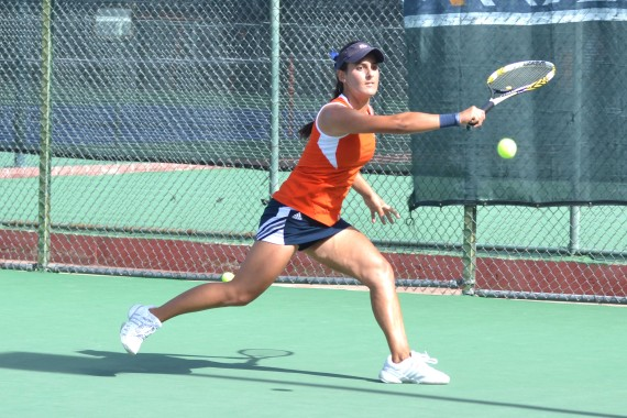 Senior Rebecca Calvillo hits a backhand slice.