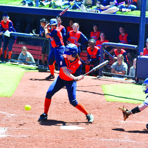Junior infielder Ashley Eldridge attempts to hit the ball against Middle Tennessee.