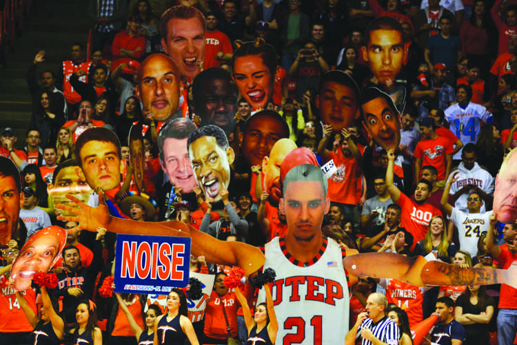 UTEP's student section, full of the Miner Maniacs at a men's basketball game against Rice on Feb. 1.