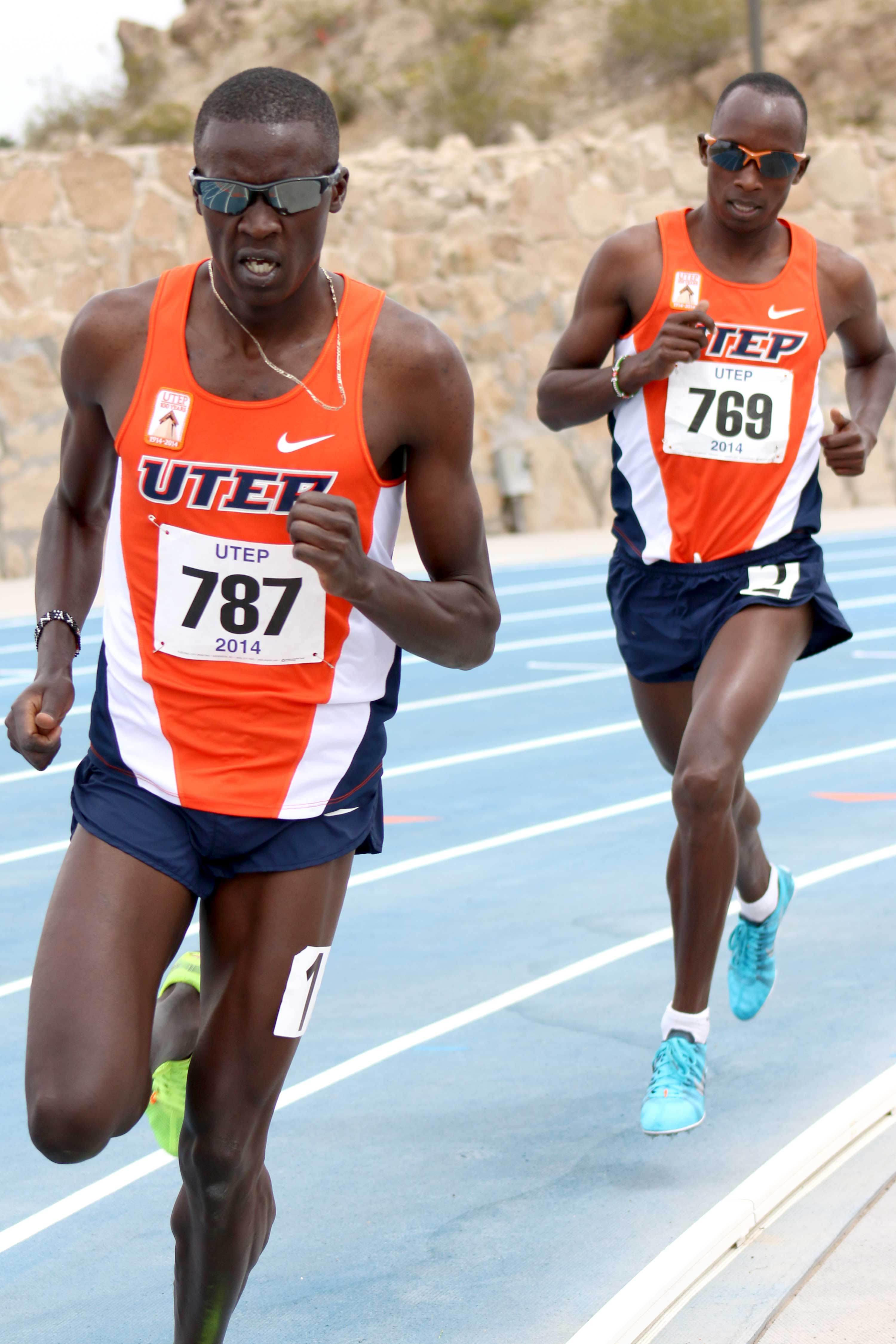 Distance runner Anthony Rotich runs in the 1500-meters, followed by teammate Cosmas Boit. Rotich and Boit placed first and second, respectively, at the April 12 meet.
