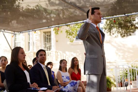 Roberto Dominguez is sworn in as president for SGA.