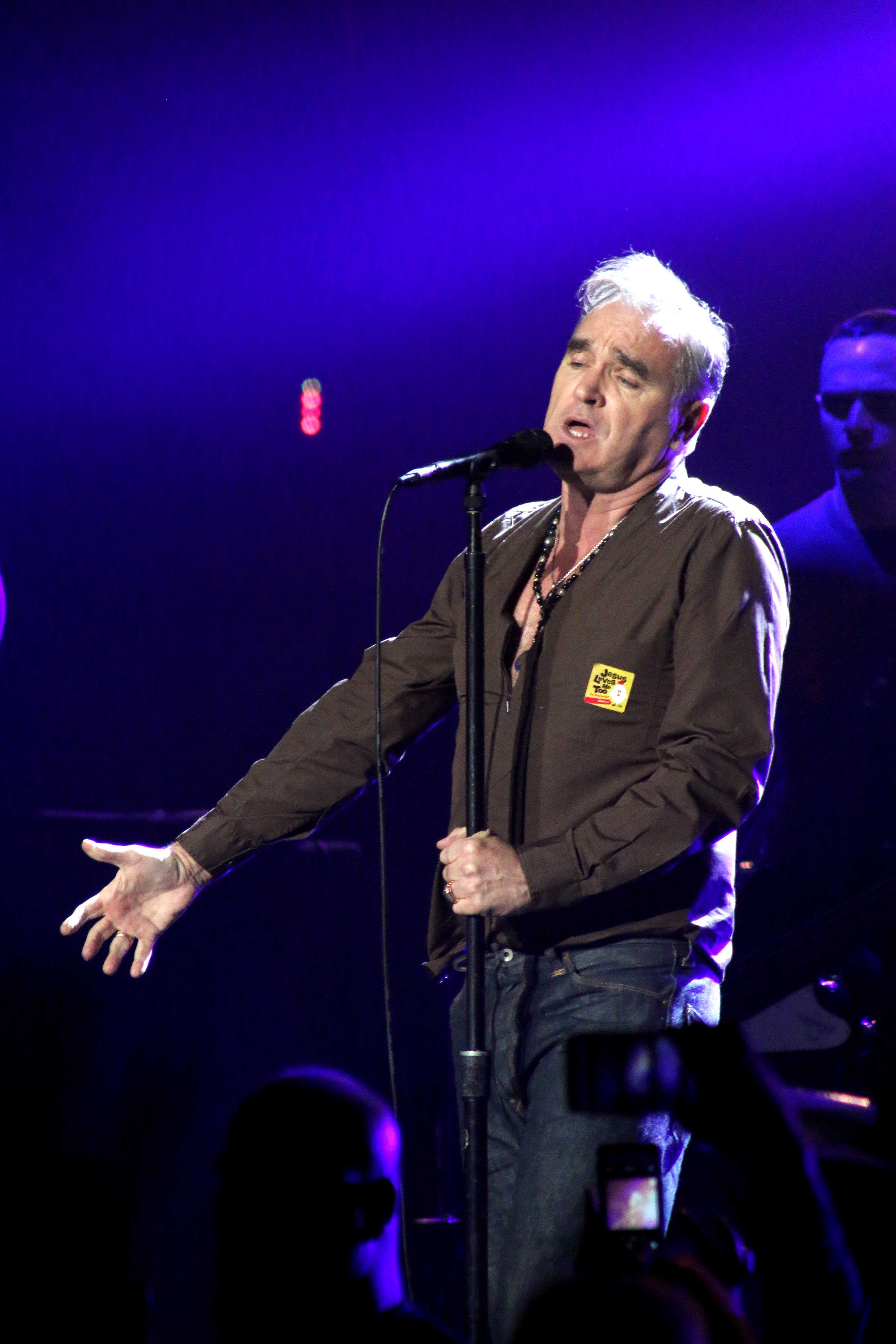 Morrissey performs for his fans at The Plaza Theater.