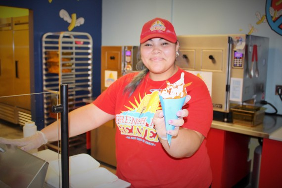 French Fry Heaven opened its first location in El Paso at 12380 Edgemere Blvd., Ste 106. (Above) Angel Wing fries are served for customer.