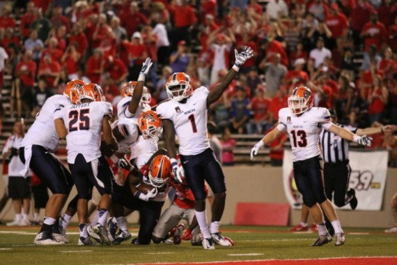 UTEP players celebrate after recovering a muffed punt return.