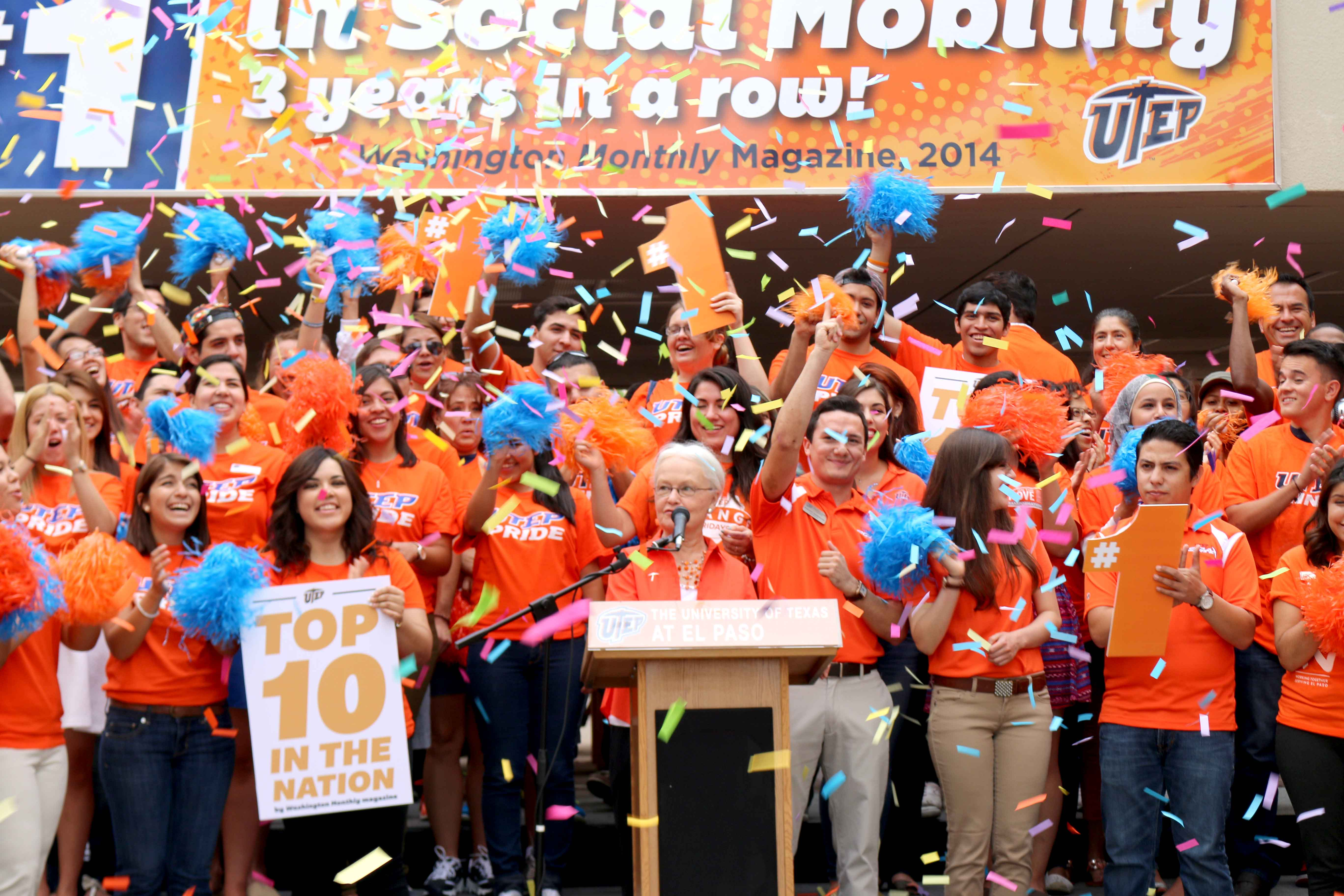 Dr. Diana Natalicio announces UTEP's ranking by Washington Monthly, tuesday at the Union.