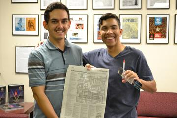 Ernest Alvidrez, sophomore pre-business major, won the Centennial Crossword Puzzle contest by correctly filling out the puzzle and identifying the incorrect answer.  The question was, who is the patron saint of engineering? Wrong answer was Saint Peter, correct answer is Saint Patrick.