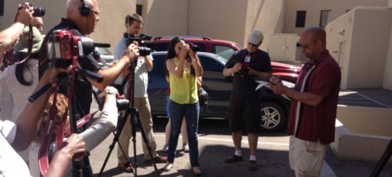 Journalism educators from Hispanic-serving institutes train on multimedia reporting during a workshop at UTEP.
