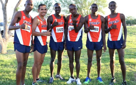 (Left to right) sophomore Evans Kripono, senior Ramon Garcia, junior Anthony Rotich, sophomore Cosmas Boit, sophomore Daniel Cheruiyot, junior Elphas Maiyo. The 2014 men's cross country team poses after winning the 2014 Lori Fitzgerald Classic at Chamizal National Park.