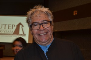 """Artist Sebastian, the sculptor who designed """"La Equis"""" in Juárez, donated a sculpture to UTEP Wednesday afternoon. He attended the Centennial Lecture Series."""