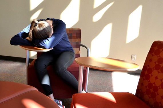A student doses off between classes at the Union.