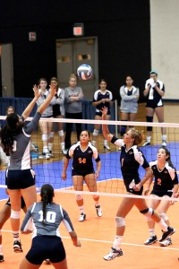 Freshman outside hitter Coline Coessens resets for another attack.