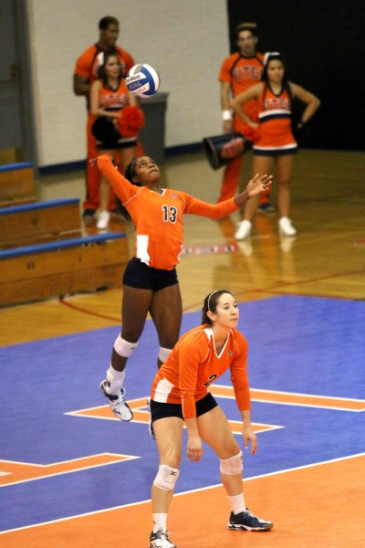 Freshman+middle+blocker+Krystal+Ejesieme+serves+the+ball+against+North+Texas+Friday%2C+Sept.+26+at+Memorial+Gym