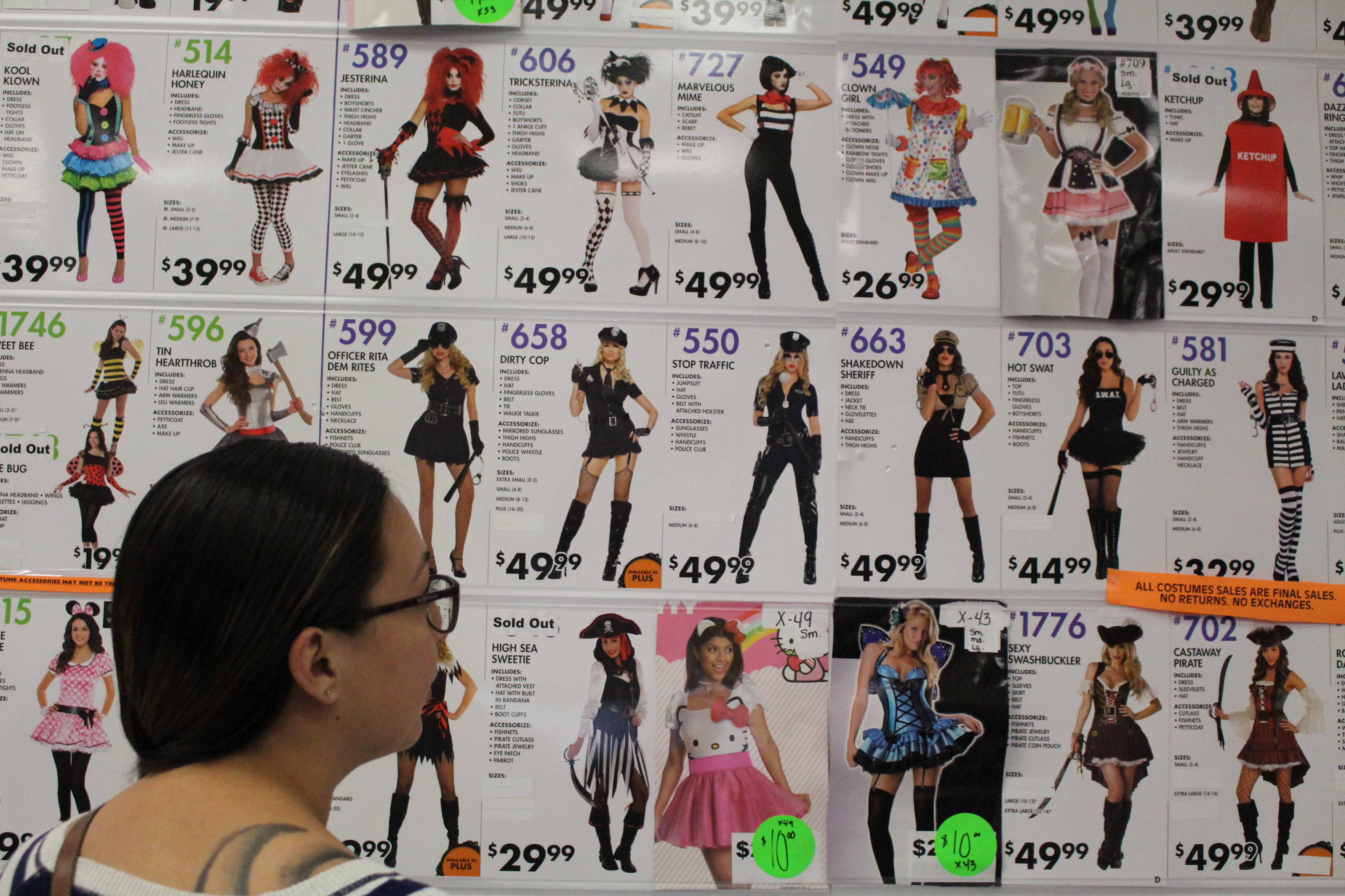 A student observes prices for women's Halloween costumes.