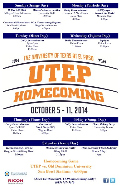 Utep Calendar.Homecoming Calendar Of Events The Prospector