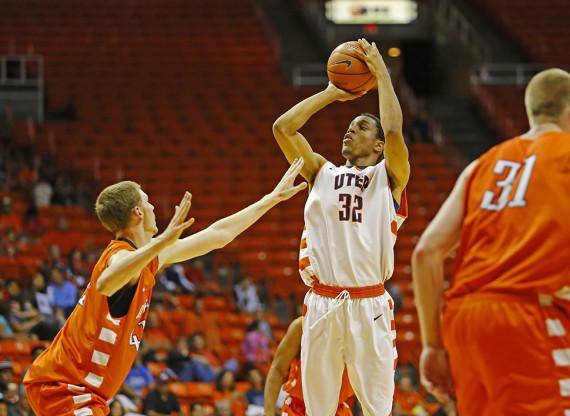 FILE PHOTO/ The Prospector Then freshman forward Vince Hunter takes a jump shot in the 2013 Orange and White Scrimmage.