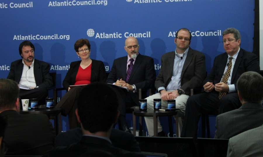 Kent Landfield, right, says that requirements for electronic voting need to be examined and that standards need to be developed. He and others, from the right, Joseph Hall, Jason Healey, Pamela Smith and Jordi Puiggali spoke at the Atlantic Council earlier this month.