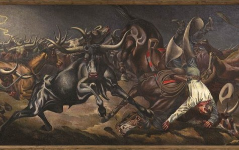 """Tom Lea's mural """"Stampede"""" was the subject of a conference in Washington after it was damaged. """"Stampede,"""" mural, 1940. Oil on canvas, 5½ x 16 feet. U.S. Post Office, Odessa, Texas. Commissioned through the Section of Fine Arts, 1934-1943. Fine Arts Collection, U.S. General Services Administration."""
