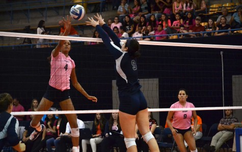 Sophomore middle blocker Dominique Millette attempts an attack on the Rice defense