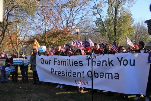 CASA members gather Friday at Lafayette Park to show their thanks after President Barack Obama's executive action announcement Thursday night. This action will help 5 million immigrants remain in the country.