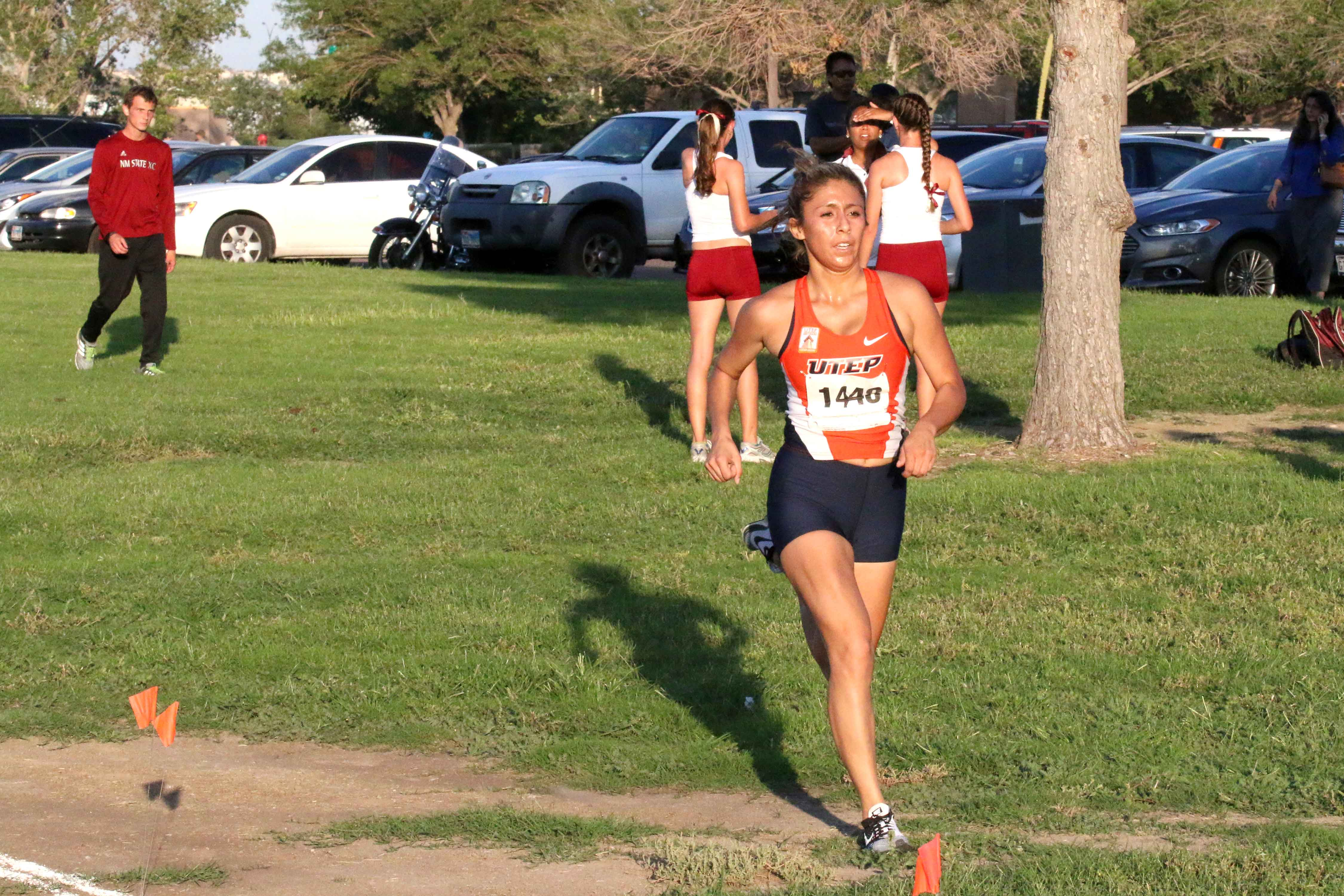 Senior Laura Delgado competes in the Miners only home invent at the Lori Fitzgerald Classic in September at the Chamizal.