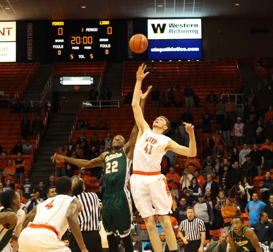 Matt Willms wins the ball for UTEP in the opening seconds.