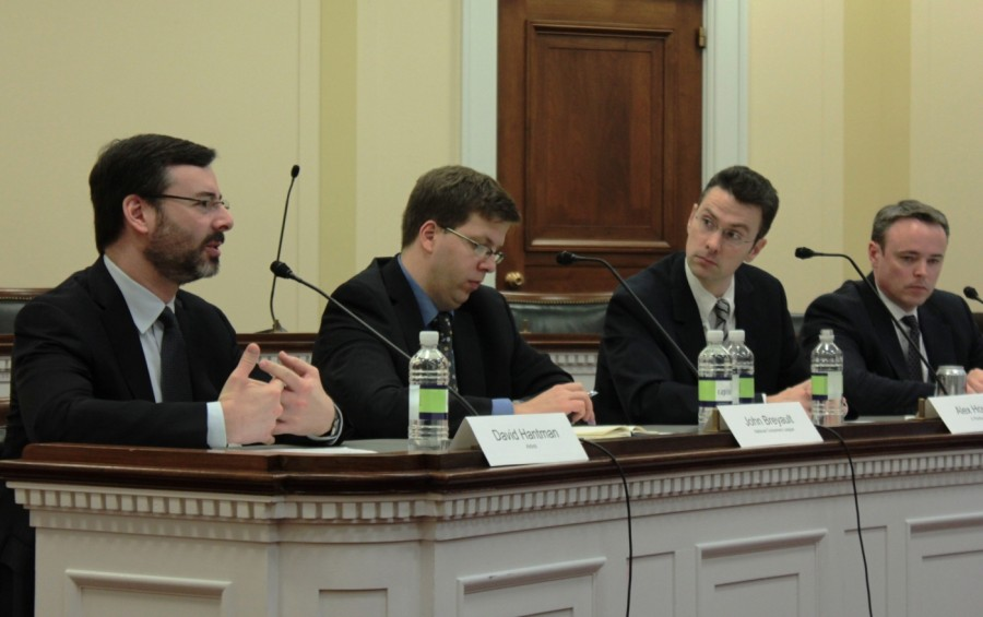 David Hantman, of Airbnb, left, says that if the data show there is a problem, the government should have a role in regulating sharing platforms. Also on the panel were John Breyault, National Consumers League; Alex Howard, TechRepublic; and Adam Thierer, Mercatus Research Center at George Mason University.