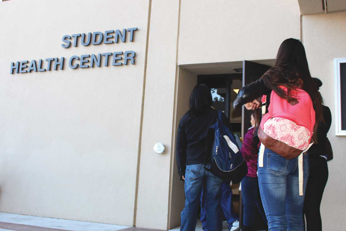 The Student Health center is located in front of the east entrance of the student union building.