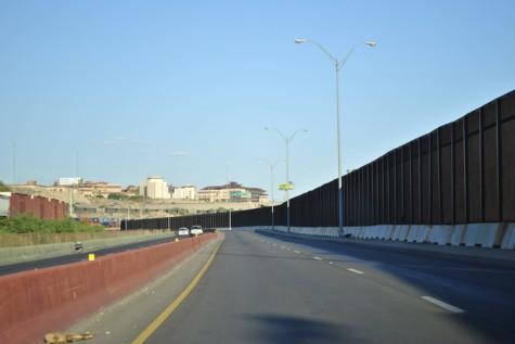 The border fence dividing the United States and Mexico.