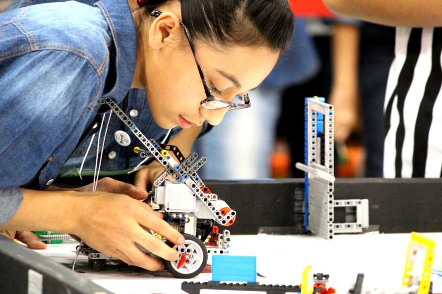 A+FIRST+Championship+competitor+readies+her+robotic+apparatus.+