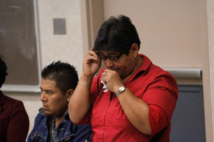 Blanca Luz Nava, mother of missing student Jorge Alvarez Nava, breaks down while telling the story of her son.