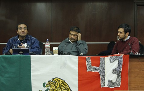 Vidulfo Rosales, public interest attorney for the state of Guerrero, left, and Felipe de la Cruz, professor at Raul Isidro Burgos Rural Teachers College in Ayotzinapa, brief journalists and students at the University of the District of Columbia of the missing 43 Mexican students. Cruz's barely escaped the kidnapping.