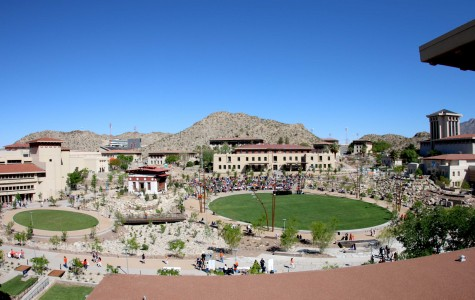 A view of Centennial Plaza as seen from the Administration Building.