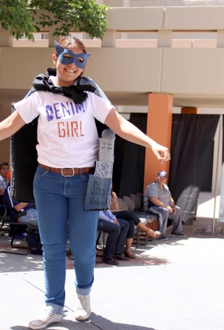 A participant walk on the runway as Denim Girl.