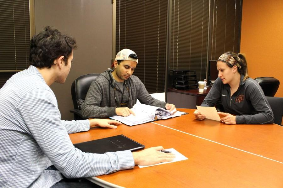 (From left to right) Hector Gomez, SGA senate secretary, Saad Sheikh, attorney general, and Vice President of internal affairs Marissa Rodriguez.