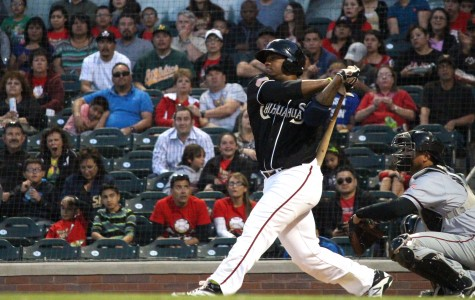 Chihuahuas right fielder Rymer Liriano hits a pitch against the Sacramento River Cats.