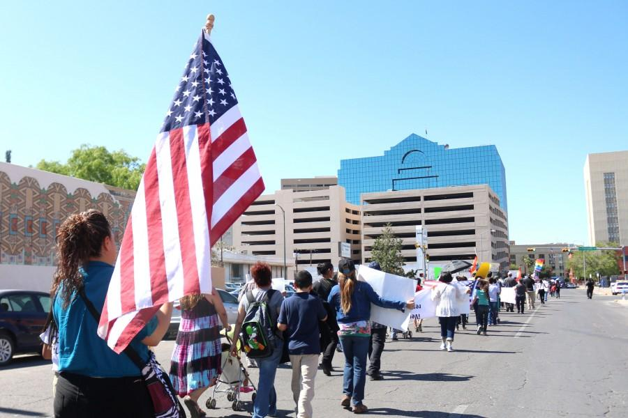 More+than+300+El+Pasoans+marched+on+April+30+through+downtown+to+protest+anti-immigration+bills.++