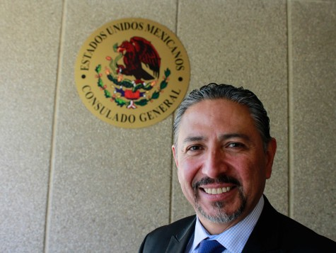 Jacobo Prado, Consul General of Mexico, poses for a picture in front of the Mexican Consulate.