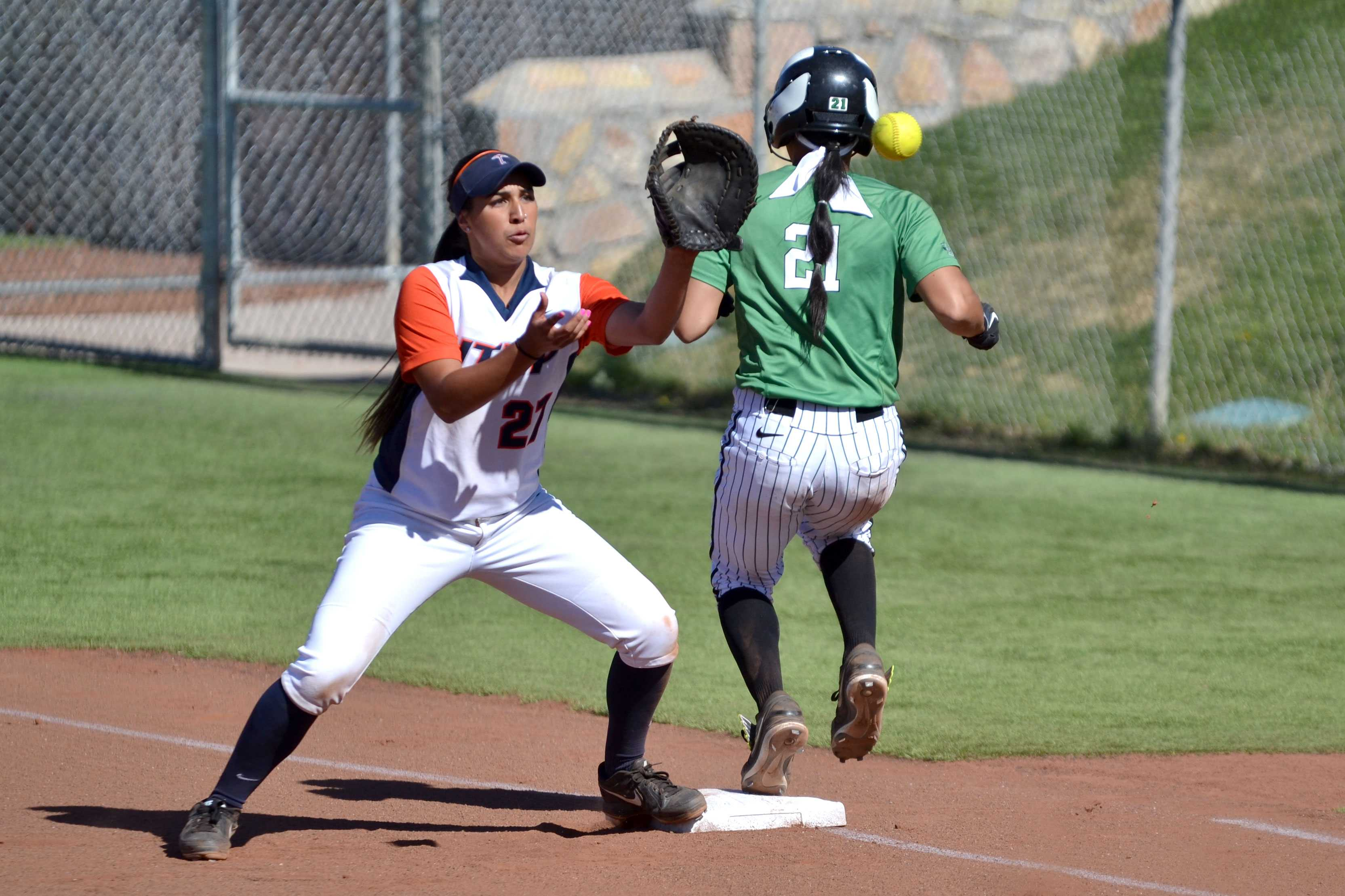 UTEP first baseman Courtney Clayton attempts to make a catch.