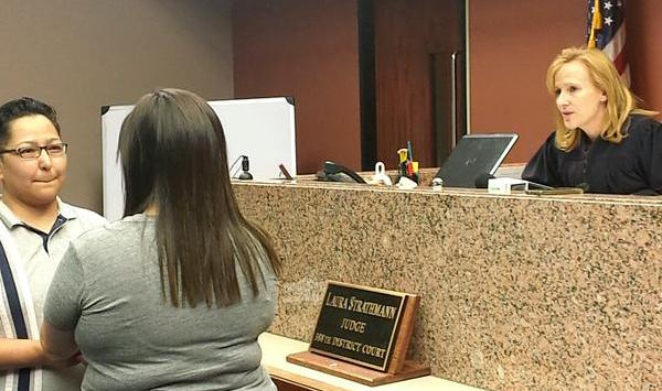 388th District Court Judge Laura Strathmann prepares to marry a  second same-sex couple in El Paso, Texas