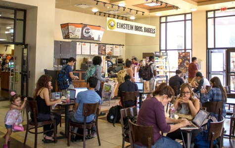 Einstein Bros Bagels is located at the UTEP Bookstore.