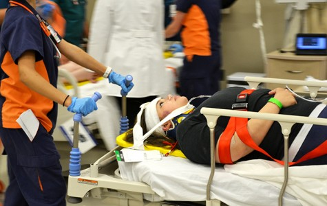 UTEP nursing student tends to a simulated victim.